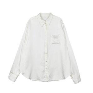 STAND ALONE Back Print Silk Shirt - White