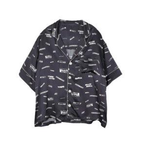 STAND ALONE Pattern Pyjama SS Shirt - Dark Grey