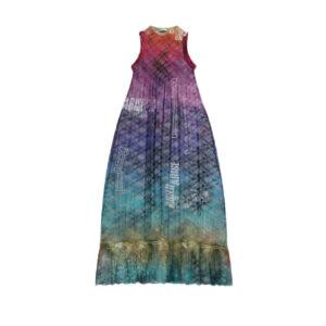 ARIES Vestido Maxi Pleated Lace - Multi