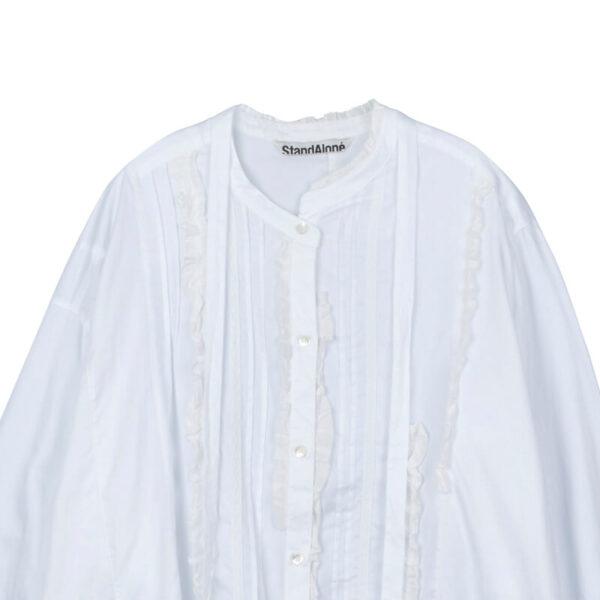 STAND ALONE Asymmetric Lace Fril Blouse - White