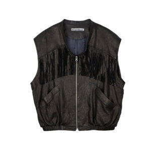STAND ALONE Chaleco Fringe Leather - Black