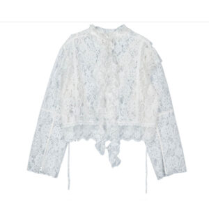 STAND ALONE Blusa Mixed Lace Tie - White