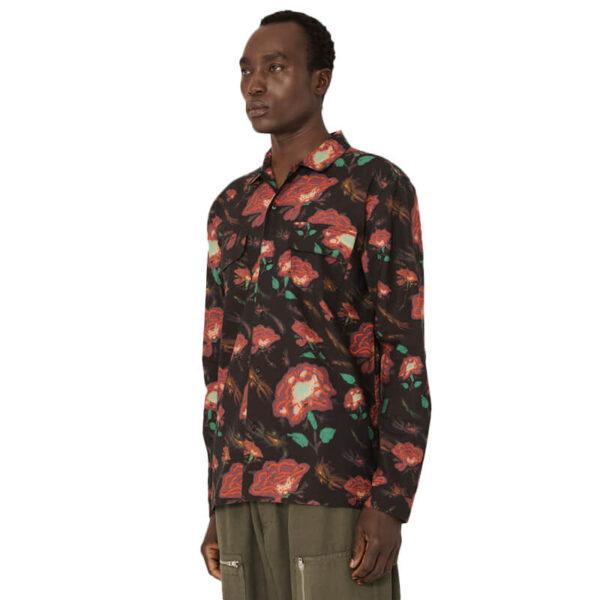 YMC Feathers Floral Shirt - Black